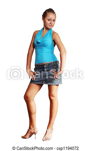 Stock foto van blauwe blouse kort rok vrijstaand tiener levendig csp1194072 zoek - Tiener meisje foto ...