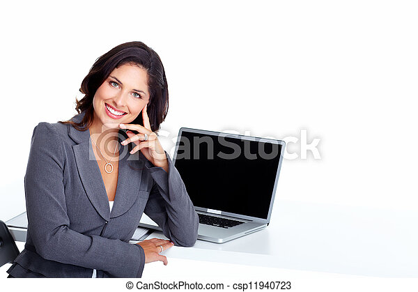 Business woman with laptop computer. - csp11940723