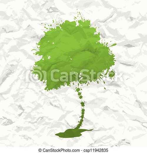 Green tree. Crumpled paper - csp11942835