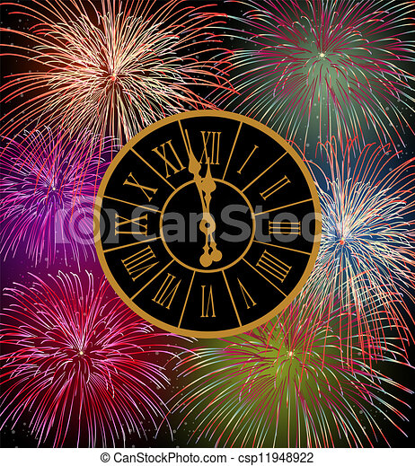 Vector Illustration of Happy New Year fireworks eve night time ...