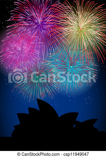 Happy New Year fireworks Australia landmark - csp11949047