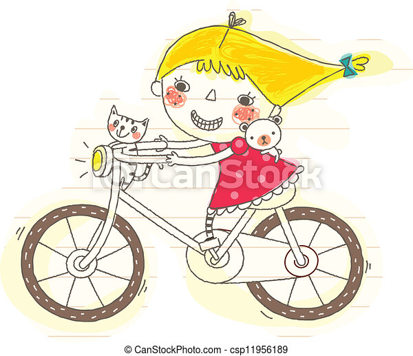 side view of girl riding bicycle - csp11956189