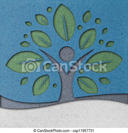 Human Tree Paper Art - csp11957731