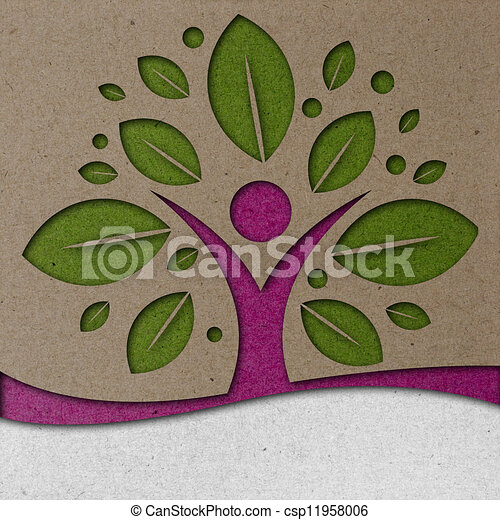 Human Tree Paper Art - csp11958006