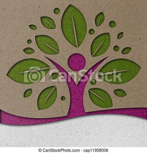 Human Tree Paper Art - csp11958006