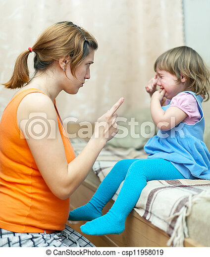 Woman scolds crying child   - csp11958019