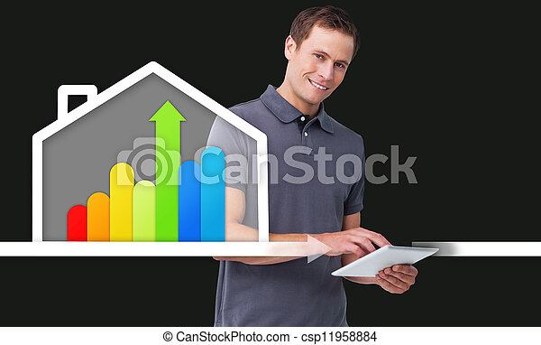 stehende , grafik, wirksam, haus, energie, hinten, mann - csp11958884
