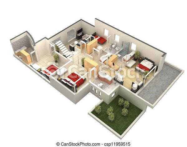 Villa Floor Plan 3d 3d Floor Plan Computer