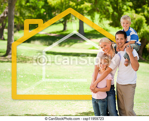 Happy family in the park with house - csp11959723