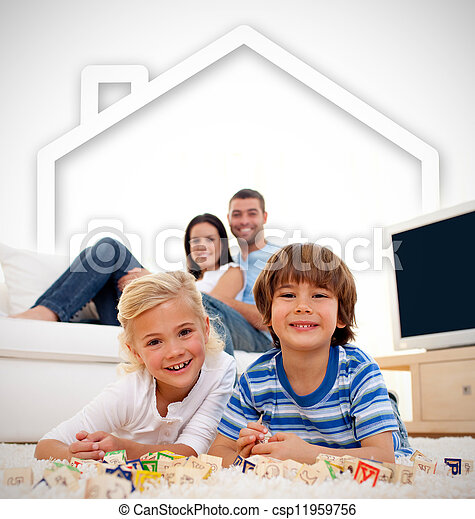Loving family playing with toys - csp11959756