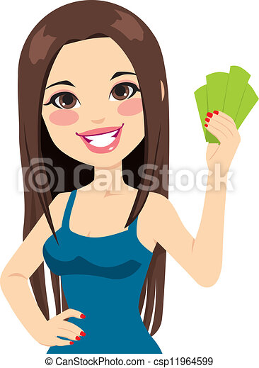 Girl Holding Bank Notes - csp11964599