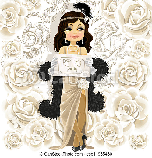 Cute woman with Retro party poster  - csp11965480