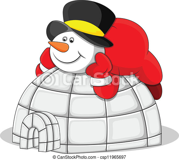 EPS Vectors Of Snowman With Igloo House Vector Creative