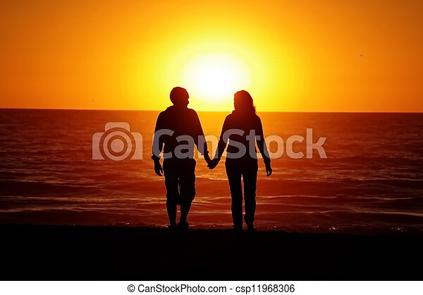 loving couple beach sunset - csp11968306