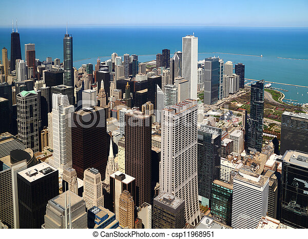 Chicago downtown aerial panorama - csp11968951