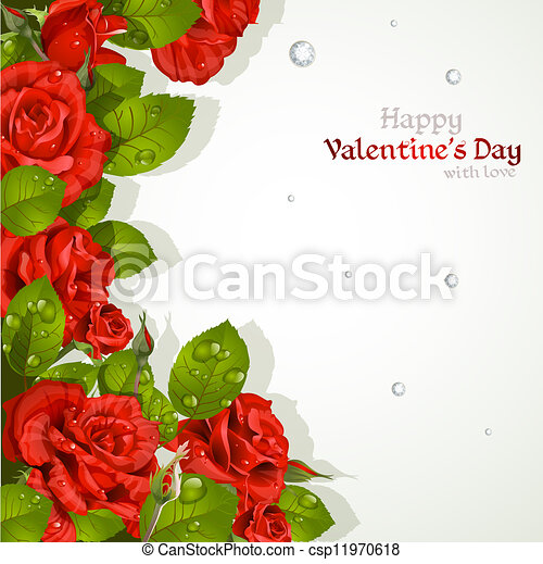 Valentine`s day card with red roses - csp11970618