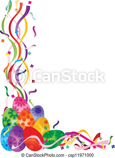 Colorful Easter Day Eggs in Confetti Border Illustration - csp11971000