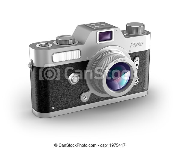 Retro photo camera over white  - csp11975417