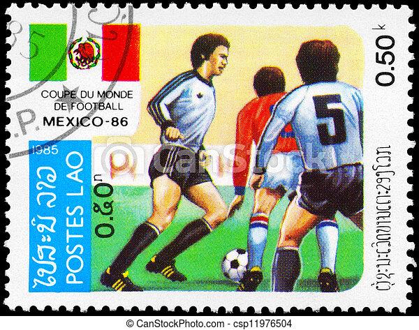 LAOS - CIRCA 1985 Soccer match - csp11976504