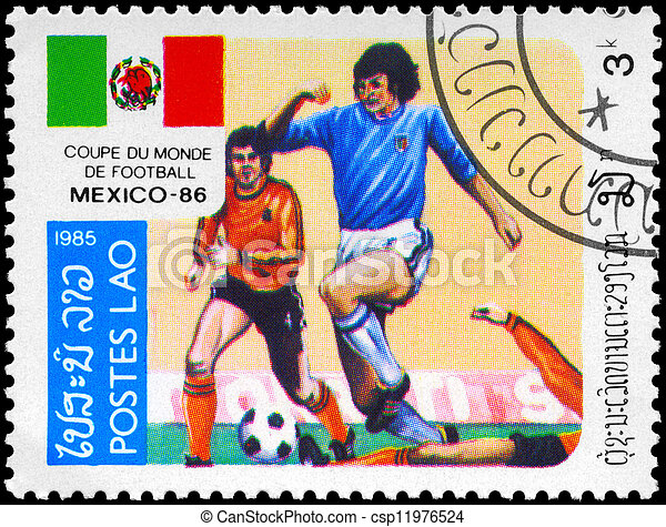 LAOS - CIRCA 1985 Soccer scene - csp11976524