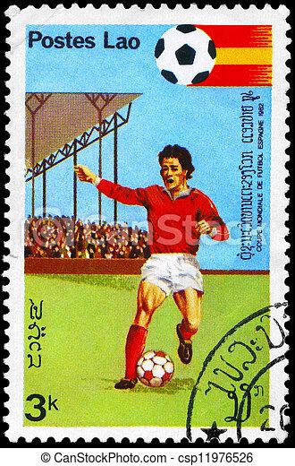 LAOS - CIRCA 1981 World Cup Soccer - csp11976526