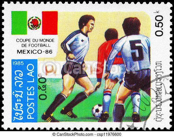 LAOS - CIRCA 1985 World Cup Soccer - csp11976600