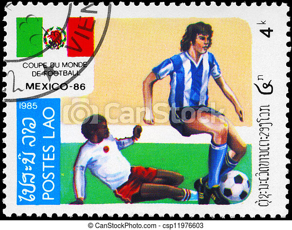 LAOS - CIRCA 1985 Soccer - csp11976603