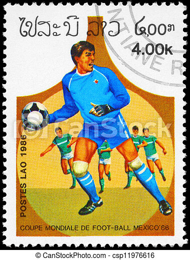 LAOS - CIRCA 1986 Goalkeeper - csp11976616