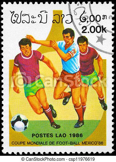 LAOS - CIRCA 1986 Soccer scene - csp11976619
