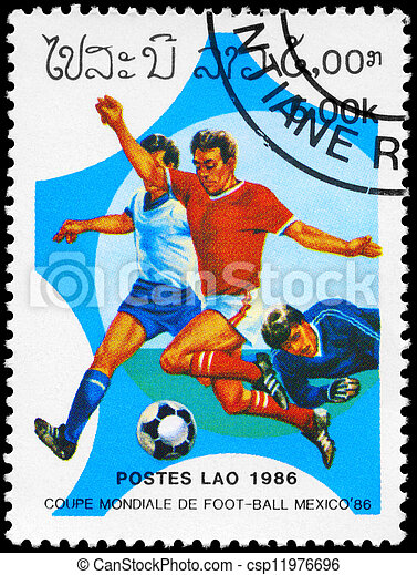 LAOS - CIRCA 1986 World Cup Soccer - csp11976696