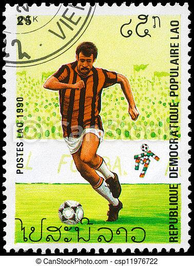 LAOS - CIRCA 1990 World Cup Soccer - csp11976722