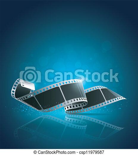Camera film roll blue background - csp11979587