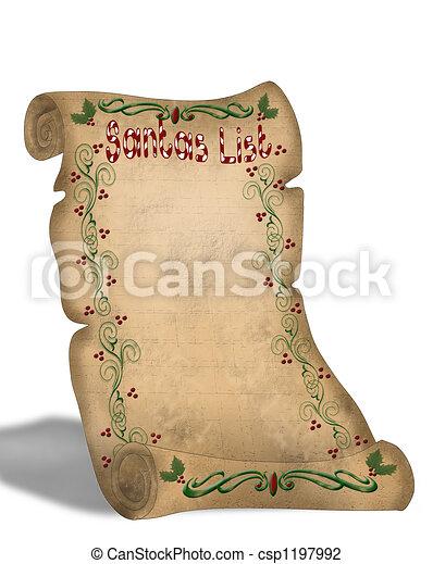 Clip Art of Santa\\\'s List On Parchment - Illustration ...