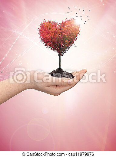 Woman's hand holding a tree heart - csp11979976