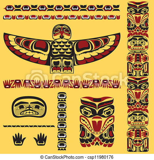 Canadian native art elements in vector - csp11980176