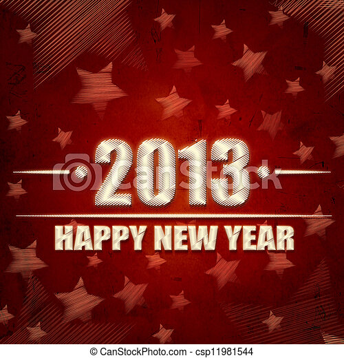 Happy New Year 2013 over red retro background with stars - csp11981544