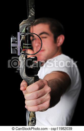 Apuntar, con, flecha - csp11982039