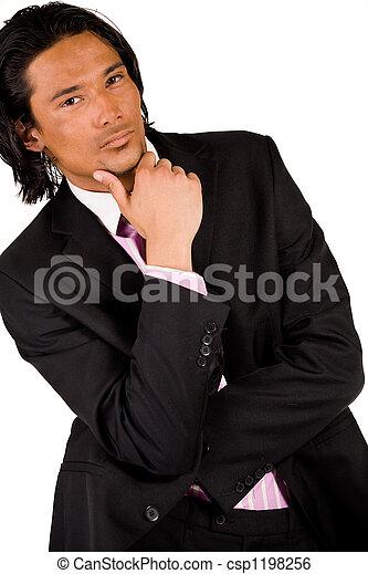 pensando, homem negócios - csp1198256