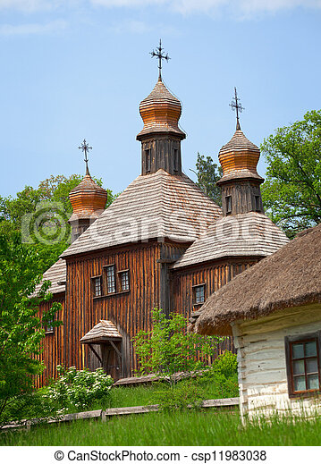 Old wooden Church. Ukraine Pirogovo - csp11983038