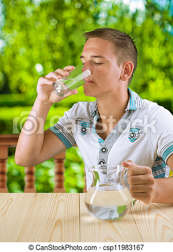 a guy drinking