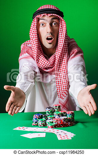 Arab playing in casino - gambling concept with man - csp11984250