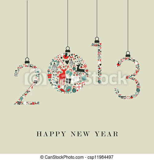 Christmas icons hanging 2013 new year - csp11984497