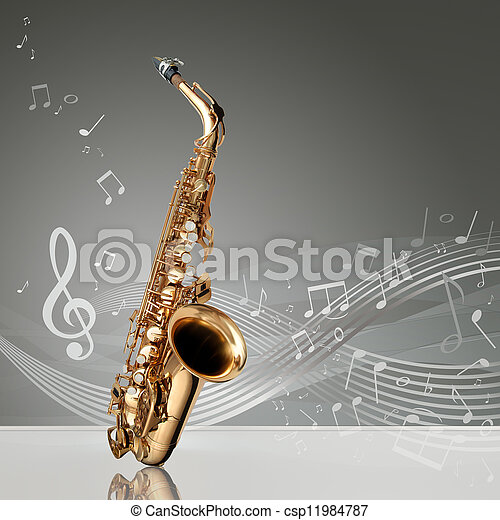 Saxophone with musical notes - csp11984787