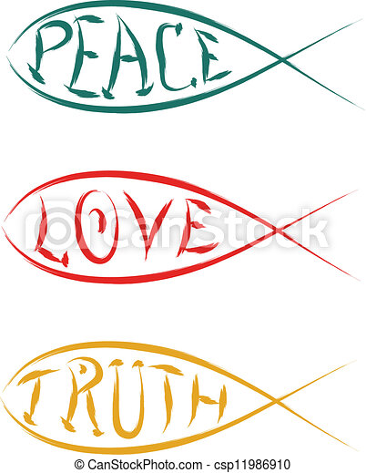 Vector Clip Art of christian fish with peace love truth vector ...