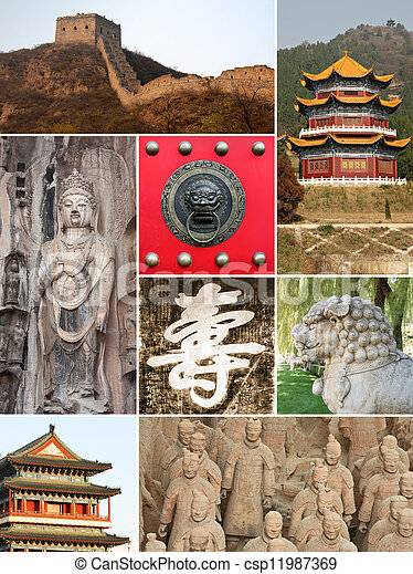 Landmark collage of China - csp11987369