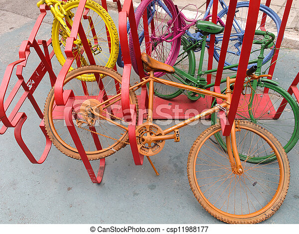 Colorful bicycles - csp11988177