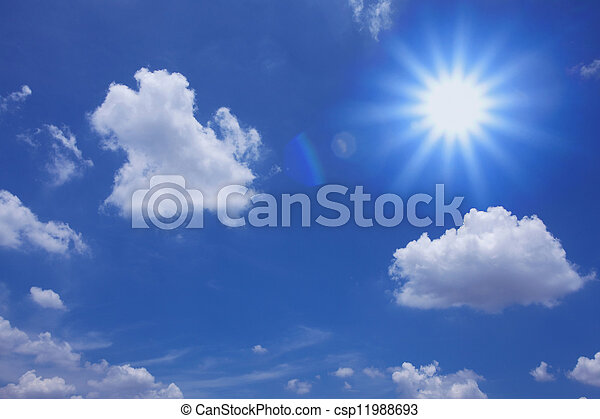 Blue sky with clouds and sun - csp11988693