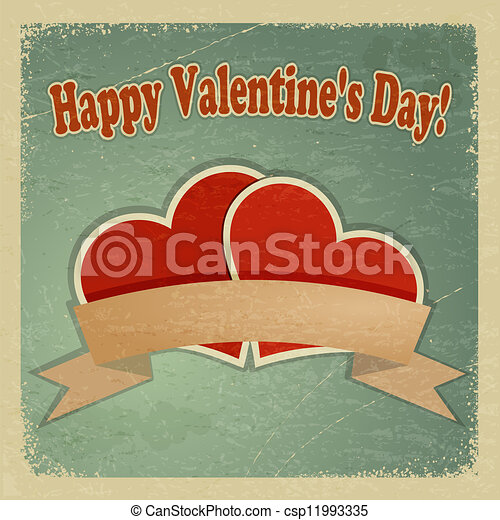 Vintage greeting card with a happy Valentine's Day. eps10 - csp11993335