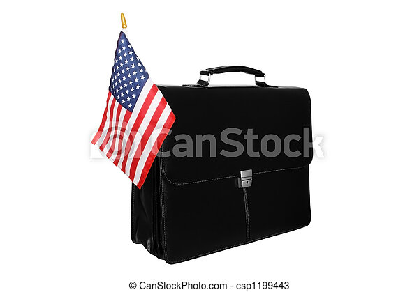Portfolio with a flag of the USA - csp1199443