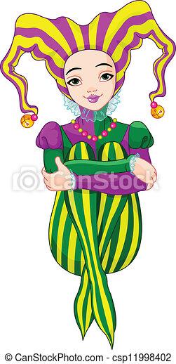 Mardi Gras harlequin lady - csp11998402